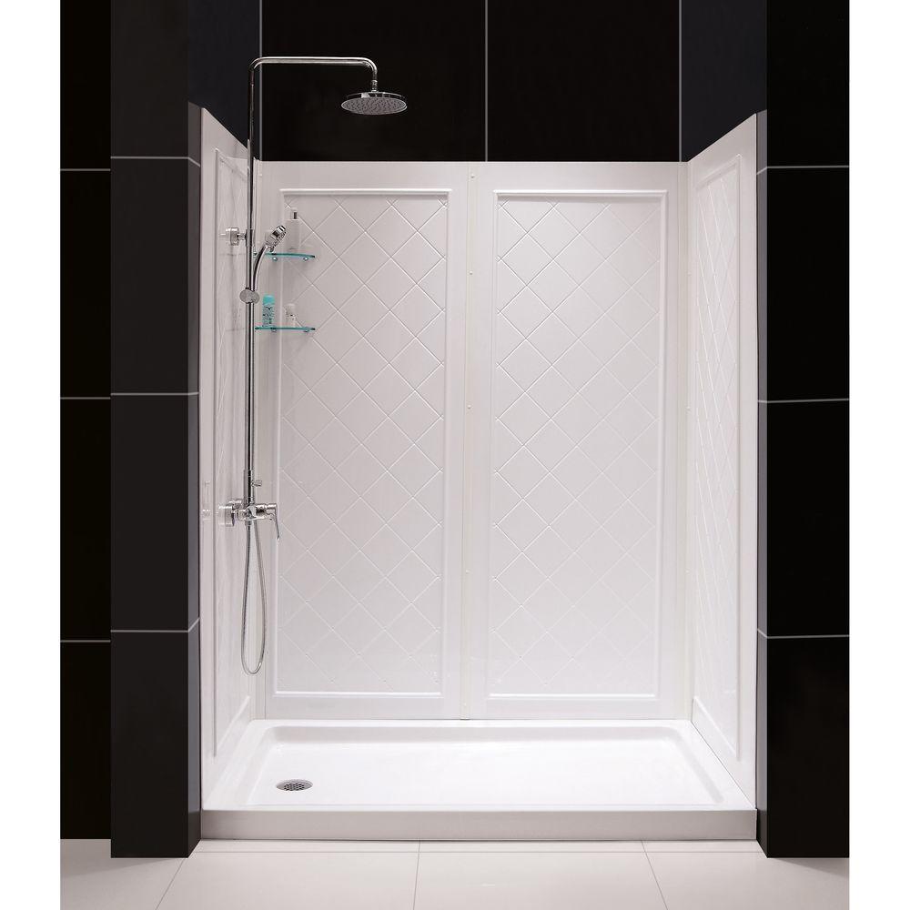 Dreamline Slimline 36 In X 60 Single Threshold Shower Base White Left