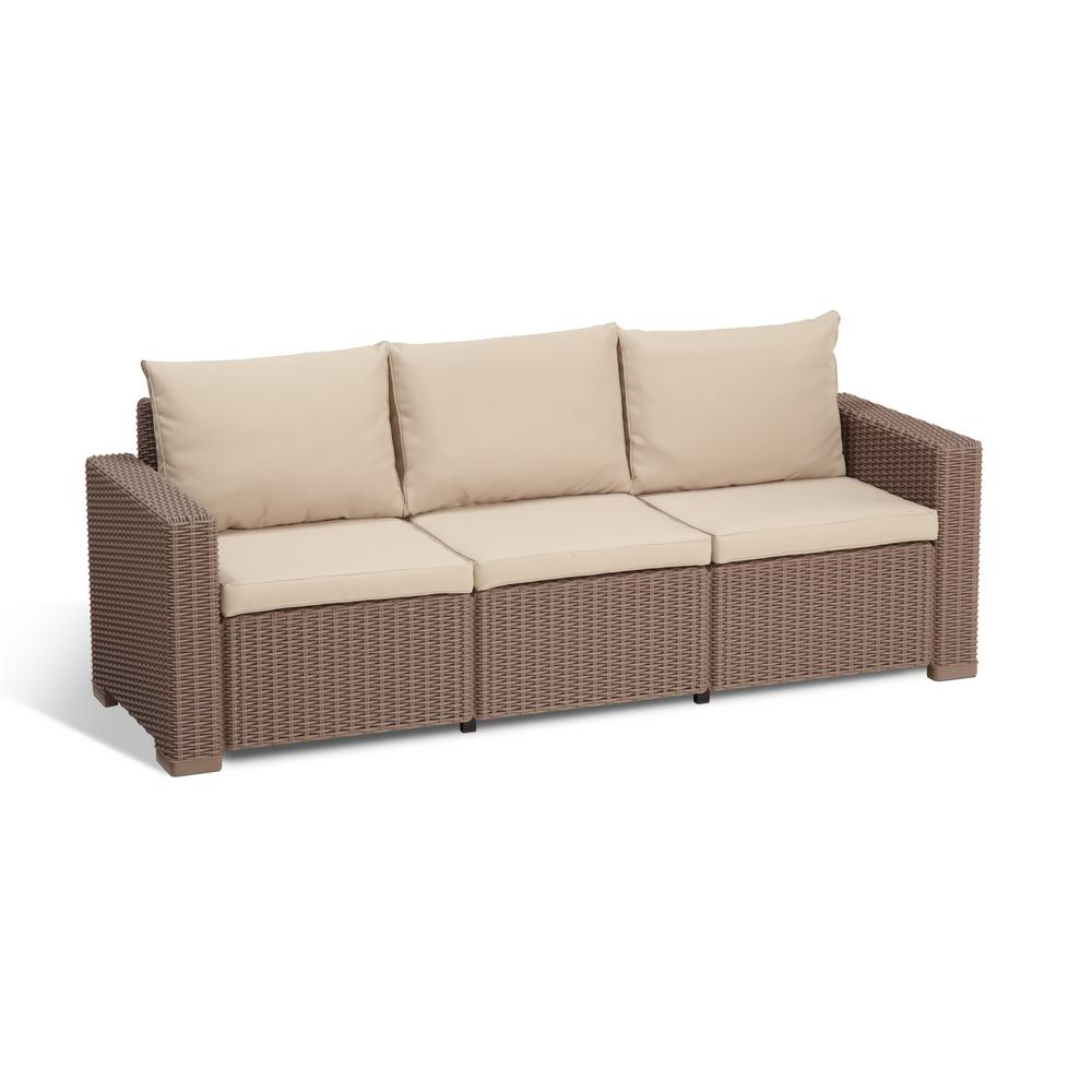 Keter California Cappuccino Plastic Wicker Outdoor 3-Seat Sofa with Sand  Cushions