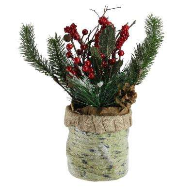 12 in. Artificial Red Berries Frosted Pine Needles and Twigs Christmas Centerpiece