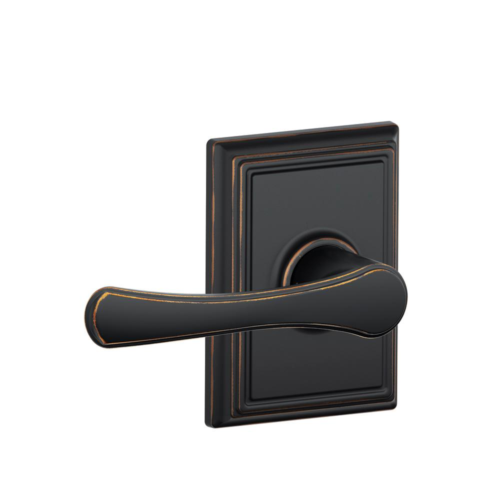 Avila Aged Bronze Hall and Closet Lever with Addison Trim