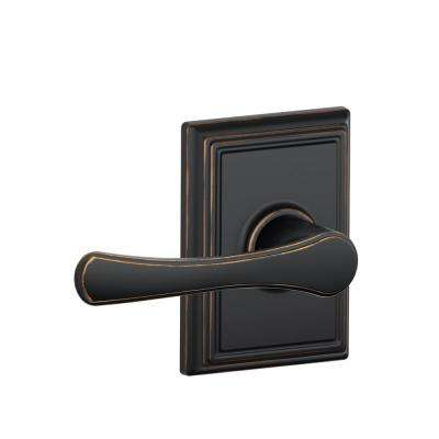 Avila Aged Bronze Passage Hall/Closet Door Lever with Addison Trim
