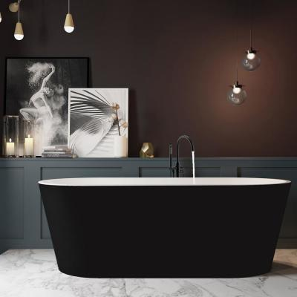 67 in. Fiberglass Flatbottom Non-Whirlpool Bathtub in Black with Tub Filler Combo Modern Stand Alone Tub