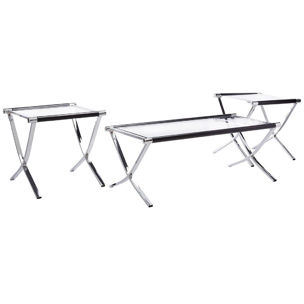 Kings Chrome (Grey) and Black Glass Top Coffee Table and ...