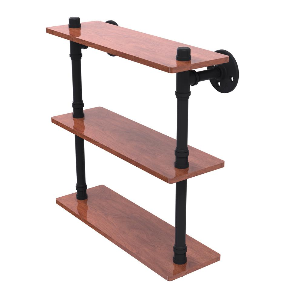 Pipeline Collection 16 in. Ironwood Triple Shelf in Matte Black