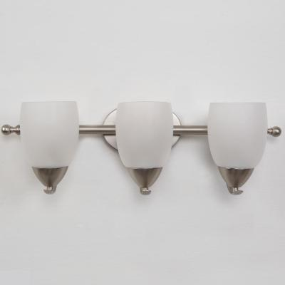 Mirror Lake 3-Light Brushed Nickel Bathroom Vanity Light with White Etched Glass Shade