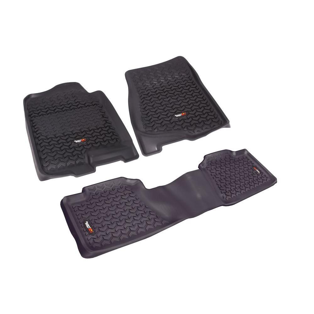 Rugged Floor Liner Set 3-Piece Black 2007-2012 GM Full-Si...