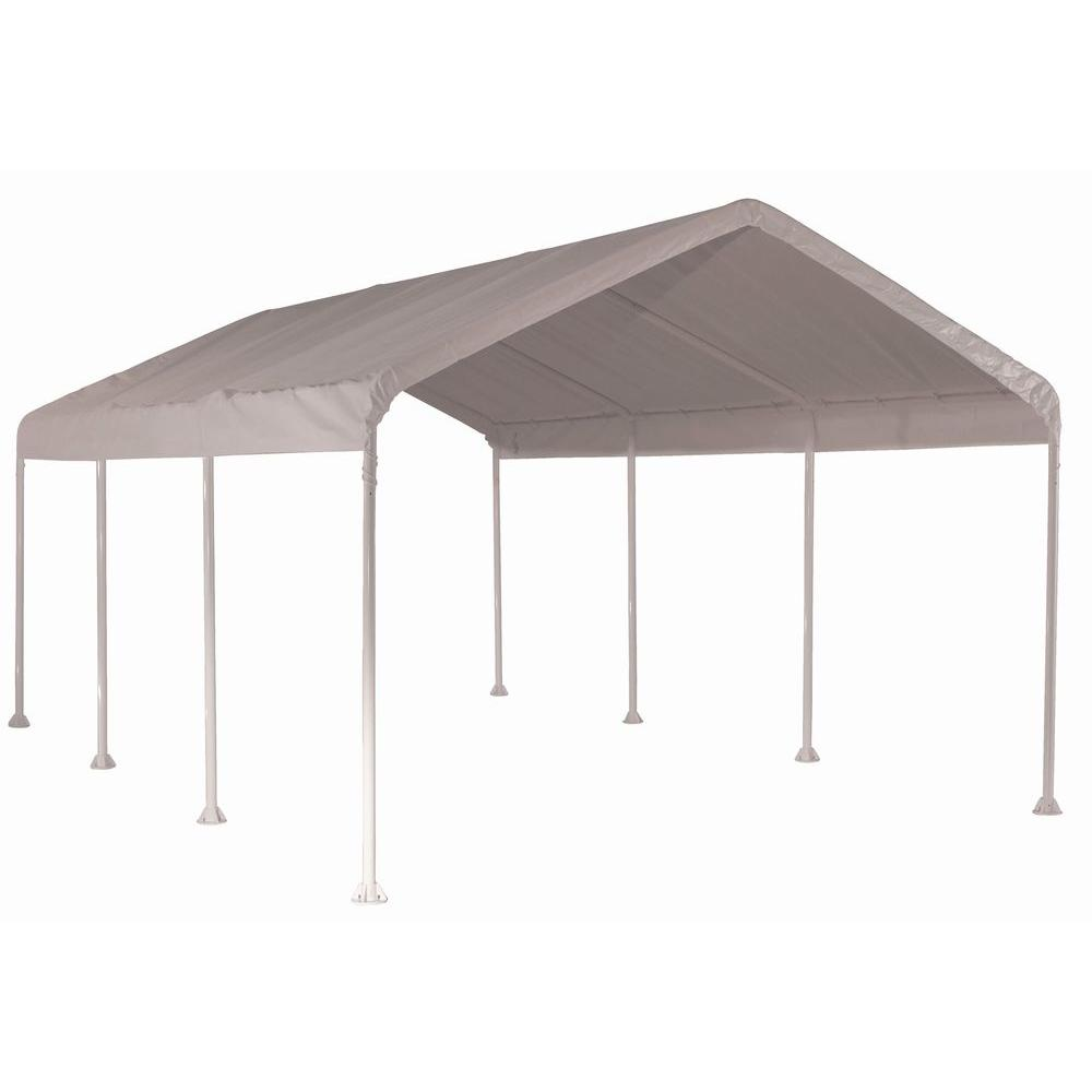 Shelterlogic 10 Ft W X 20 Ft D Supermax Heavy Duty 8 Leg Canopy In White With Industrial Grade Slip Fit Steel Frame 23571 The Home Depot