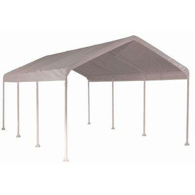 10 ft. W x 20 ft. D SuperMax Heavy-Duty, 8-Leg Canopy in White with Industrial-Grade, Slip-Fit Steel Frame