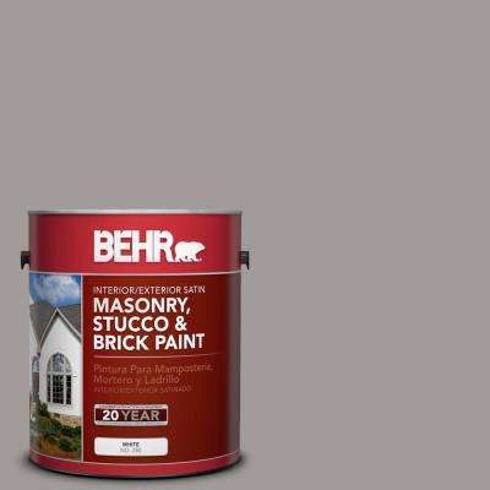 1 gal. #BNC-17 Casual Gray Satin Interior/Exterior Masonry, Stucco and Brick Paint
