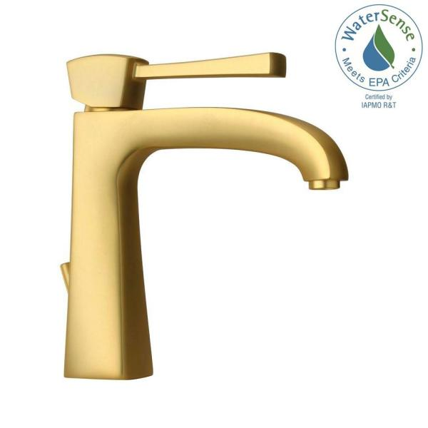 LaToscana-Lady Single Hole 1-Handle Low-Arc Bathroom Faucet in Satin Gold