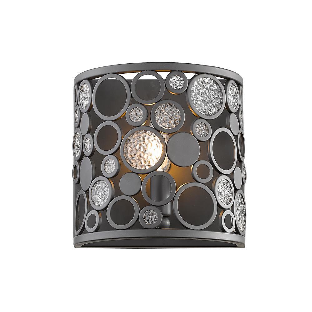 Joslyn 1-Light Bronze Wall Sconce with Bronze Steel Shade