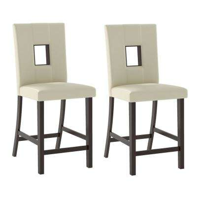 Bistro White Leatherette Counter Height Dining Chairs (Set of 2)