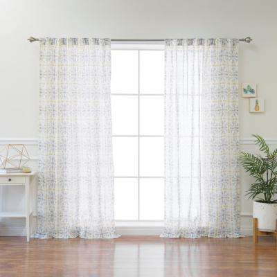 Yellow Fiesta Sheer Curtain Panel - 84 in. L x 52 in. W (1-Panel)