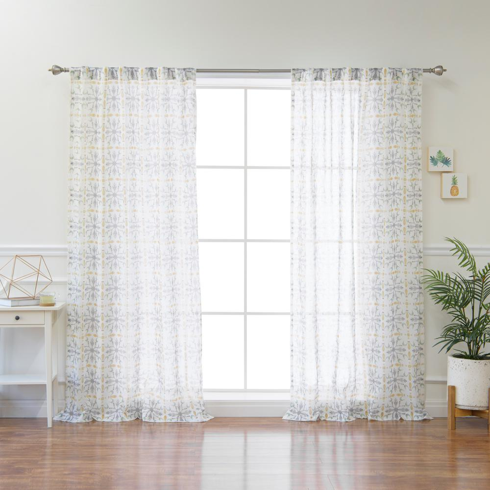Best Home Fashion Yellow Fiesta Sheer Curtain Panel - 84 in. L x 52 ... 2ccedaf5a1d1