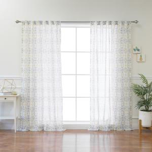 Yellow Fiesta Sheer Curtain Panel - 84 inch L x 52 inch W (1-Panel) by