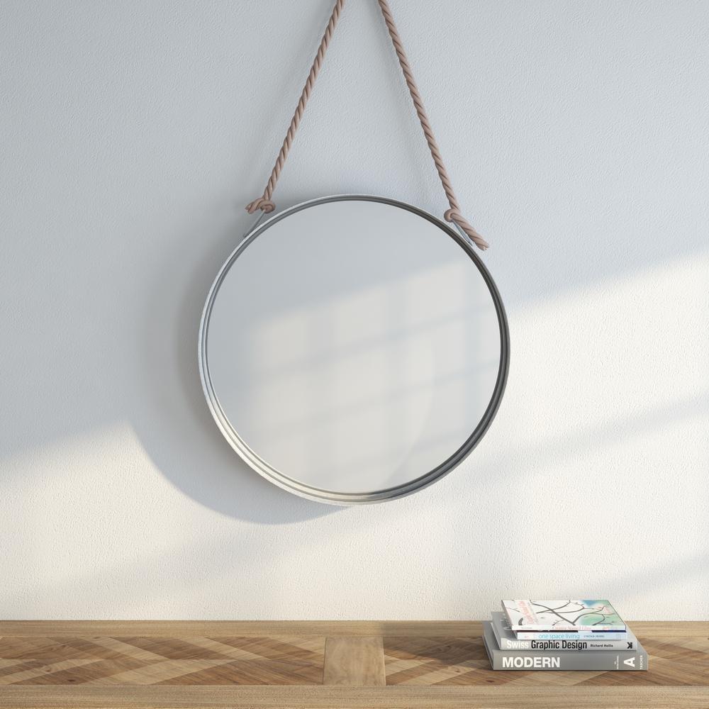 Round Galvanized Metal Framed Mirror