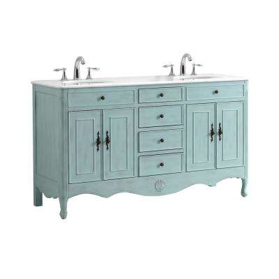 Provence 60 in. W x 21 in. D Double Bath Vanity in Light Blue with Marble Vanity Top in White with White Basin