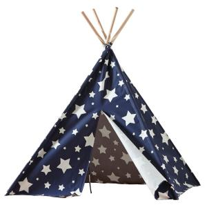 turtleplay Cotton Canvas Blue with White Stars Indoor Children's Teepee by turtleplay