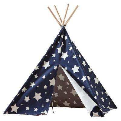 Cotton Canvas Blue with White Stars Indoor Children's Teepee