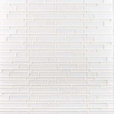 Ice Interlocking 12 in. x 12 in. x 8 mm Glossy Glass Mesh-Mounted Mosaic Tile (10 sq. ft./case)