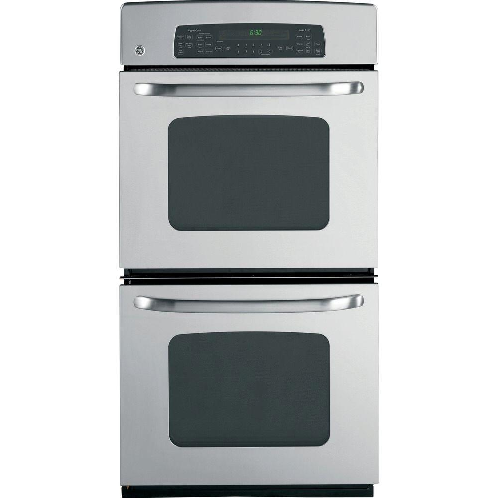 GE 27 in. Double Electric Wall Oven with Convection in Stainless Steel