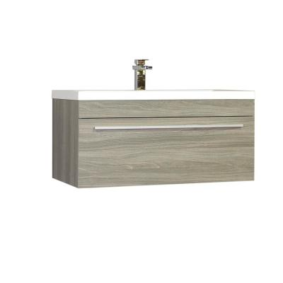The Modern 35.25 in. W x 18.75 in. D Bath Vanity in Gray with Acrylic Vanity Top in White with White Basin
