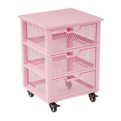 Clayton Pink Metal Frame 3-Drawer Rolling Cart