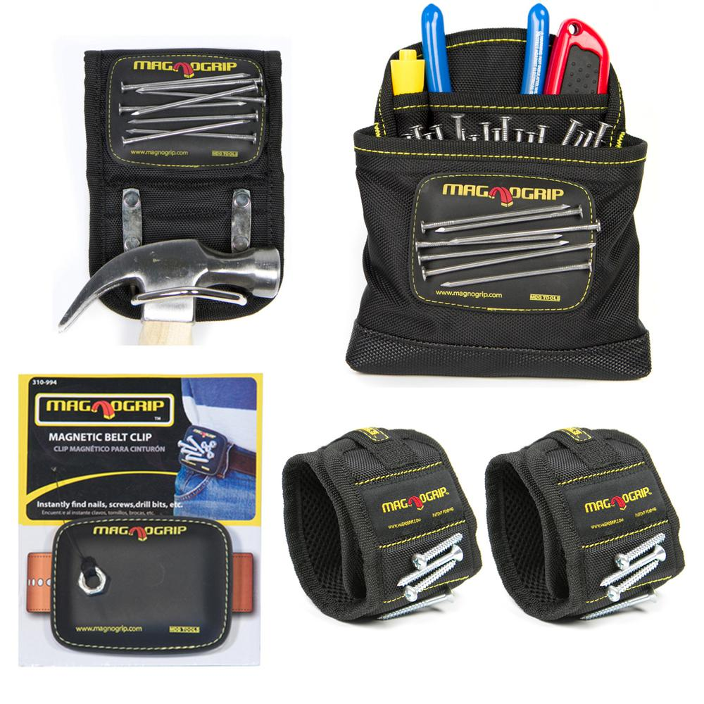Magnetic Tool Holder Set with 2 Wristbands, 1 Belt Clip, 1