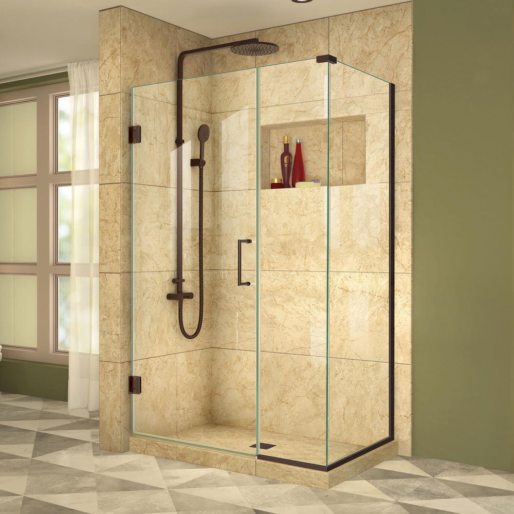 DreamLine Unidoor Plus 30-3/8 in. x 38-1/2 in. x 72 in. Frameless Hinged Corner Shower Enclosure in Oil Rubbed Bronze
