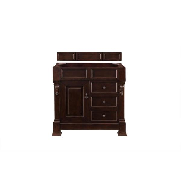 Brookfield 36 in. Single Vanity in Burnished Mahogany with Marble Vanity Top in Carrara White with White Basin