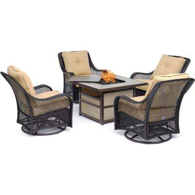 Orleans 5-Piece Wicker Patio Seating Set with Sahara Sand Cushions and Fire Pit
