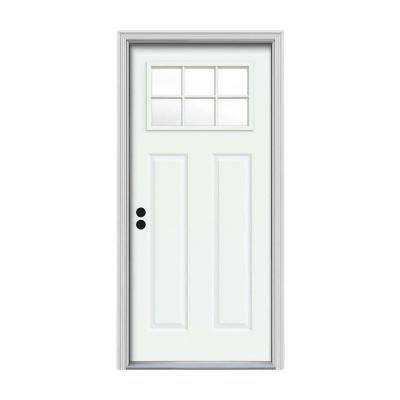 32 in. x 80 in. 6 Lite Craftsman White Painted Steel Prehung Right-Hand Inswing Front Door w/Brickmould