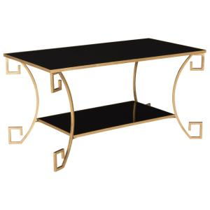 Good +2. Safavieh Yasemeen Black/Antique Gold Greek Key Coffee Table