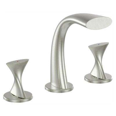 Twist Collection 8 in. Widespread 2-Handle Bathroom Faucet in Brushed Nickel
