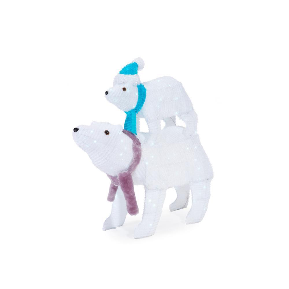 Christmas Cool White LED Polar Bears (Set of 2