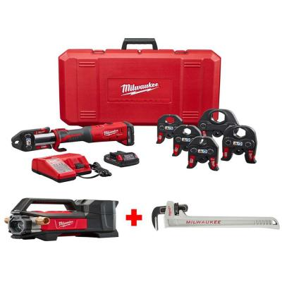 M18 18-Volt Lithium-Ion Brushless Cordless 1/2 in. - 2 in. FORCE LOGIC Press Tool Kit with Transfer Pump and Pipe Wrench