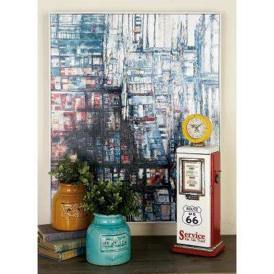 "34 in. x 28 in. ""Blue, Black and Red Color Field"" Hand Painted Framed Canvas Wall Art"