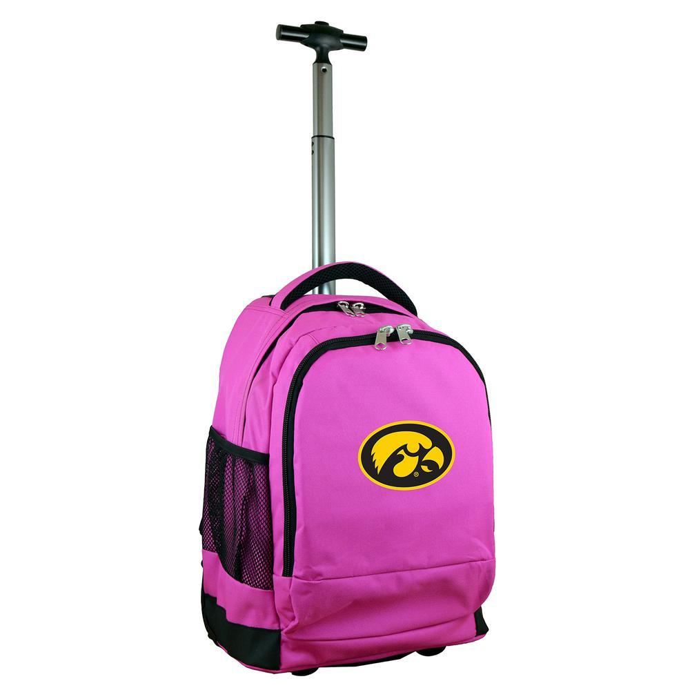 Denco NCAA Iowa 19 in. Pink Wheeled Premium Backpack