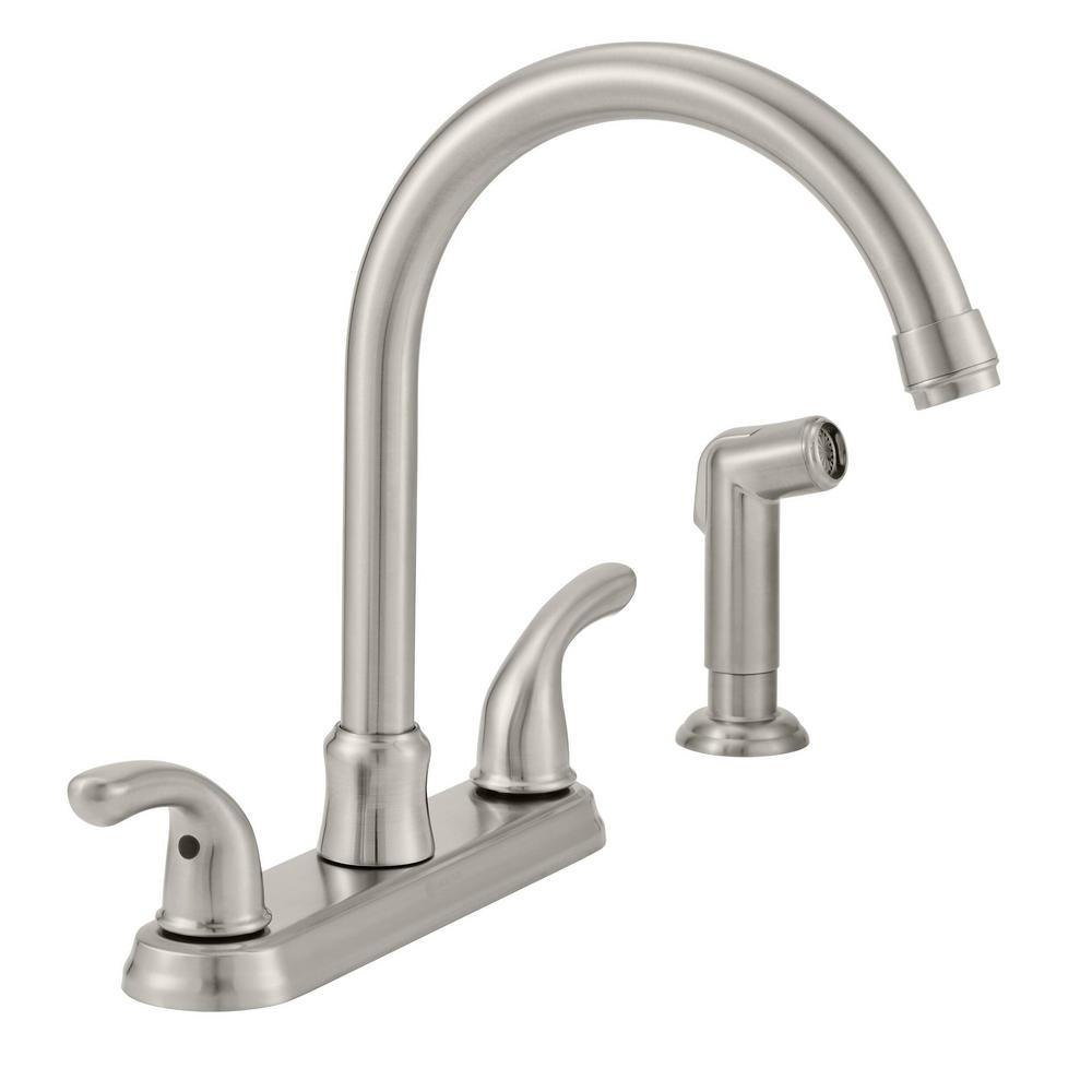 Glacier Bay Builders 2 Handle Standard Kitchen Faucet With Sprayer In Stainless Steel F8fa0000bnv The Home Depot