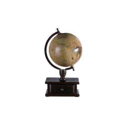 16.5 in. x 9 in. Brown Mango Wood Globe with Storage Drawer