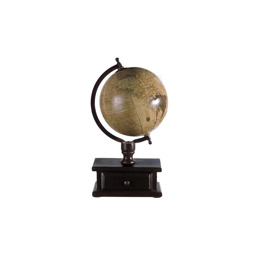 16.5 in. x 9 in. Brown Mango Wood Globe with Storage