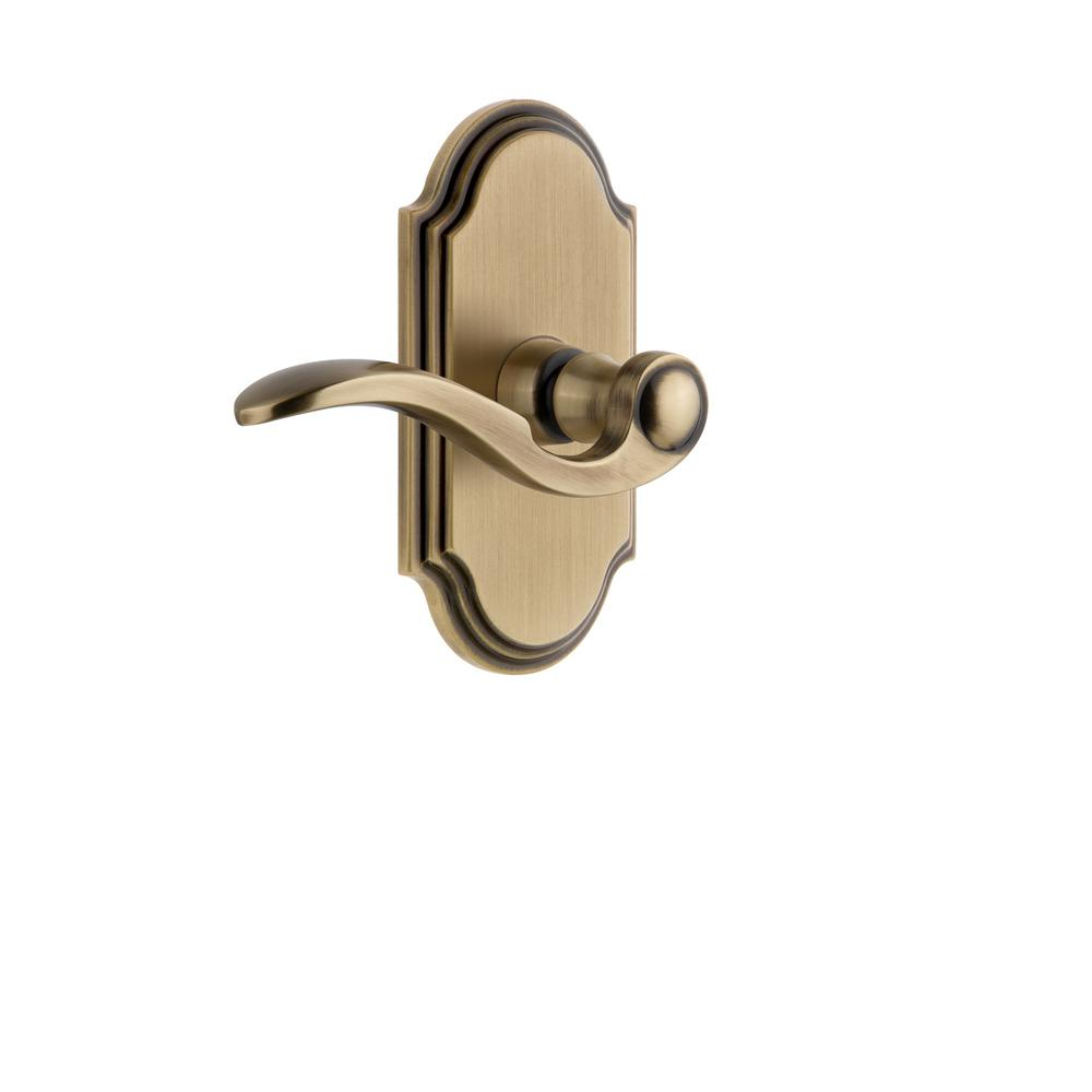 Arc Plate Double Dummy with Bellagio Door Lever in Vintage Brass