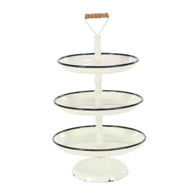 Distressed White Decorative 3-Tier Tray with Black and Brown Accents