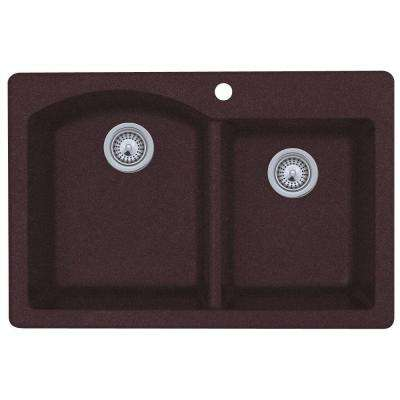 Drop-In/Undermount Granite 33 in. 1-Hole 55/45 Double Bowl Kitchen Sink in Espresso