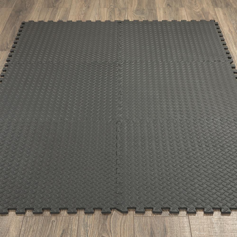 Ottomanson Multi Purpose Black 24 In X 24 In Eva Foam Interlocking Anti Fatigue Exercise Tile Mat 6 Pack Efm 24 Black The Home Depot