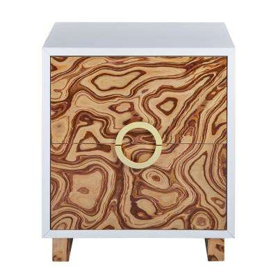 Cavalli Lacquer Brown White Burl Side Table