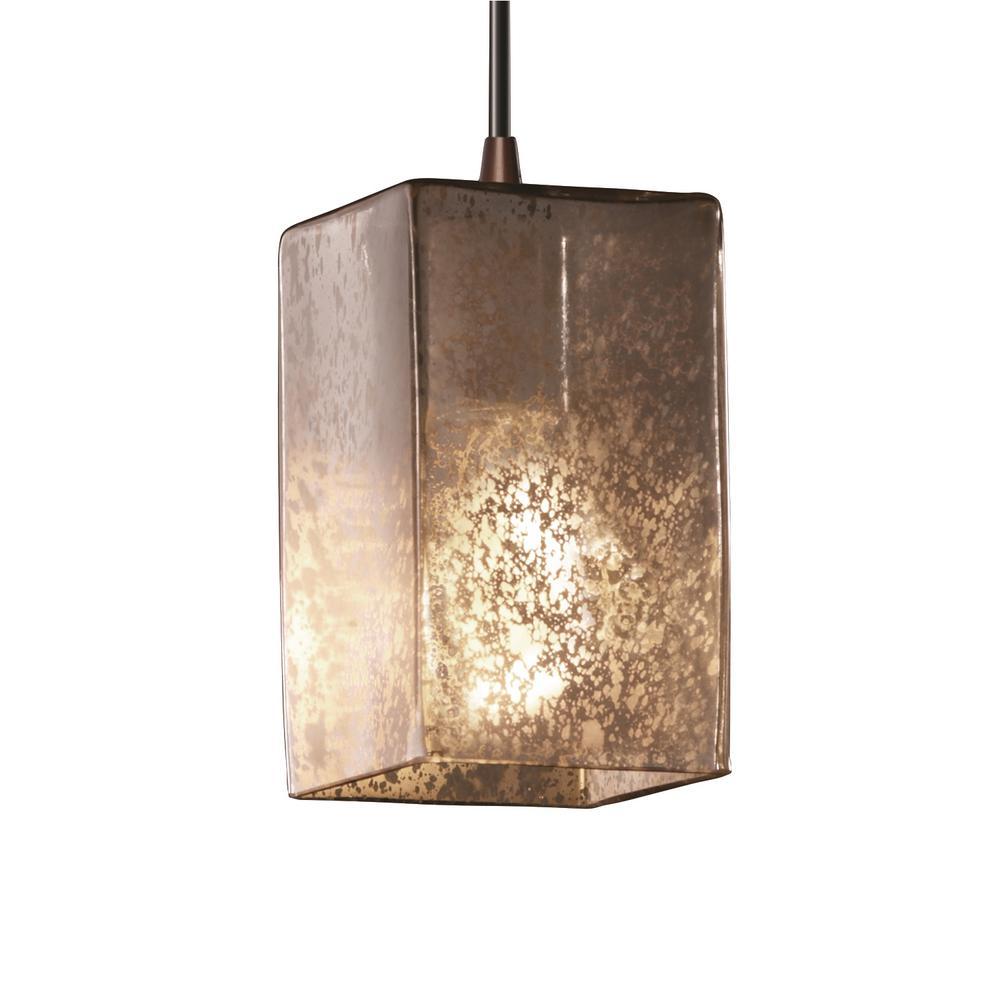 Fusion 1-Light Dark Bronze Pendant with Mercury Glass Shade