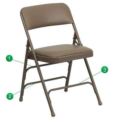 Hercules Series Curved Triple Braced & Double Hinged Beige Vinyl Upholstered Metal Folding Chair