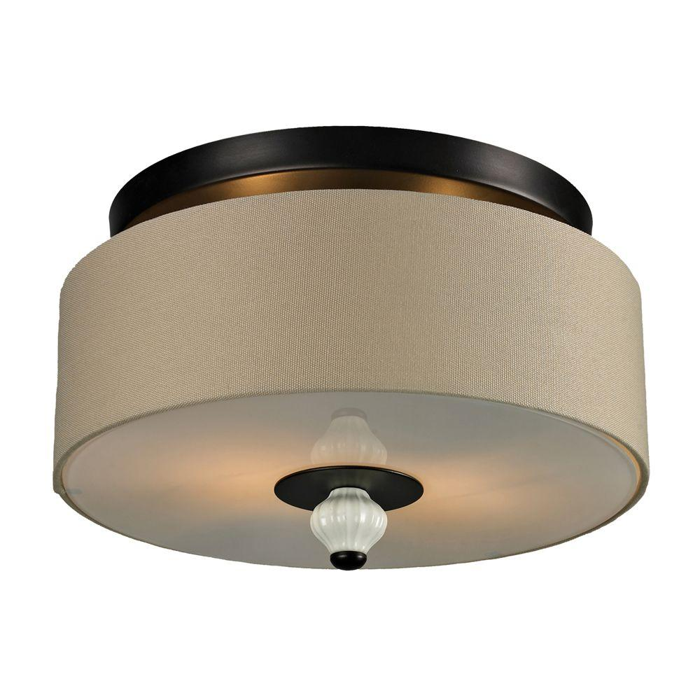 Titan Lighting Lilliana 2-Light Aged Bronze Ceiling Semi-Flush Mount Light