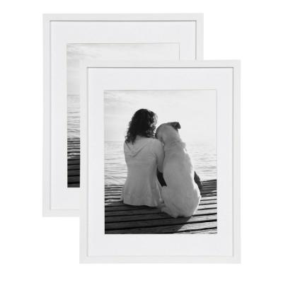 Gallery 14 in. x 18 in. Matted to 11 in. x 14 in. White Picture Frame (Set of 2)